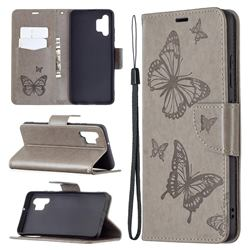 Embossing Double Butterfly Leather Wallet Case for Samsung Galaxy A32 4G - Gray