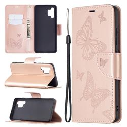 Embossing Double Butterfly Leather Wallet Case for Samsung Galaxy A32 4G - Rose Gold