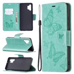 Embossing Double Butterfly Leather Wallet Case for Samsung Galaxy A32 4G - Green