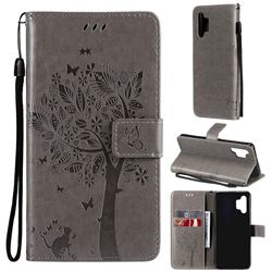 Embossing Butterfly Tree Leather Wallet Case for Samsung Galaxy A32 4G - Grey