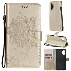 Embossing Butterfly Tree Leather Wallet Case for Samsung Galaxy A32 4G - Champagne