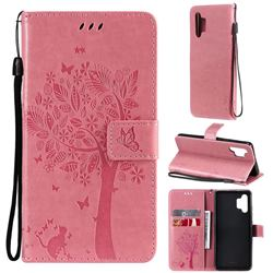 Embossing Butterfly Tree Leather Wallet Case for Samsung Galaxy A32 4G - Pink