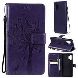 Embossing Butterfly Tree Leather Wallet Case for Samsung Galaxy A32 4G - Purple
