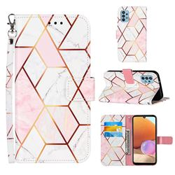 Pink White Stitching Color Marble Leather Wallet Case for Samsung Galaxy A32 4G