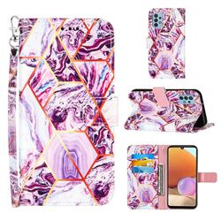 Dream Purple Stitching Color Marble Leather Wallet Case for Samsung Galaxy A32 4G