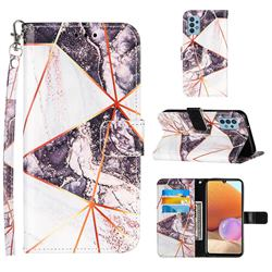 Black and White Stitching Color Marble Leather Wallet Case for Samsung Galaxy A32 4G