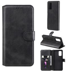 Retro Calf Matte Leather Wallet Phone Case for Samsung Galaxy A32 4G - Black