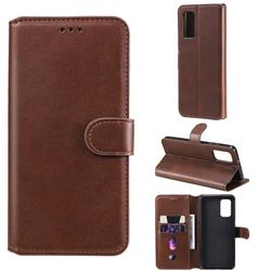 Retro Calf Matte Leather Wallet Phone Case for Samsung Galaxy A32 4G - Brown