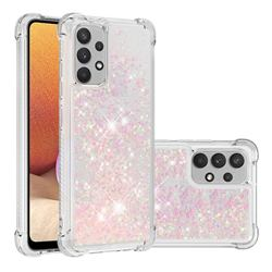 Dynamic Liquid Glitter Sand Quicksand TPU Case for Samsung Galaxy A32 4G - Silver Powder Star