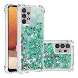 Dynamic Liquid Glitter Sand Quicksand TPU Case for Samsung Galaxy A32 4G - Green Love Heart