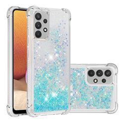 Dynamic Liquid Glitter Sand Quicksand TPU Case for Samsung Galaxy A32 4G - Silver Blue Star