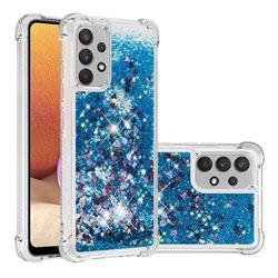 Dynamic Liquid Glitter Sand Quicksand TPU Case for Samsung Galaxy A32 4G - Blue Love Heart