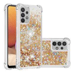 Dynamic Liquid Glitter Sand Quicksand TPU Case for Samsung Galaxy A32 4G - Rose Gold Love Heart