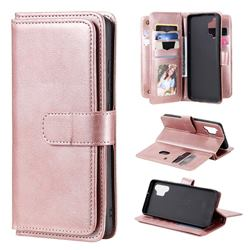 Multi-function Ten Card Slots and Photo Frame PU Leather Wallet Phone Case Cover for Samsung Galaxy A32 4G - Rose Gold