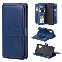 Multi-function Ten Card Slots and Photo Frame PU Leather Wallet Phone Case Cover for Samsung Galaxy A32 4G - Dark Blue