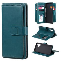 Multi-function Ten Card Slots and Photo Frame PU Leather Wallet Phone Case Cover for Samsung Galaxy A32 4G - Dark Green