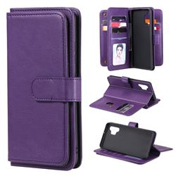Multi-function Ten Card Slots and Photo Frame PU Leather Wallet Phone Case Cover for Samsung Galaxy A32 4G - Violet