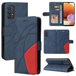 Luxury Two-color Stitching Leather Wallet Case Cover for Samsung Galaxy A32 4G - Blue
