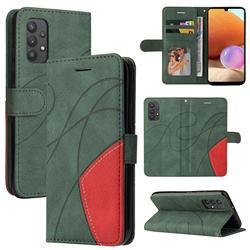 Luxury Two-color Stitching Leather Wallet Case Cover for Samsung Galaxy A32 4G - Green
