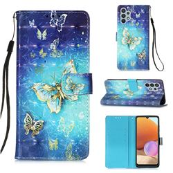 Gold Butterfly 3D Painted Leather Wallet Case for Samsung Galaxy A32 4G