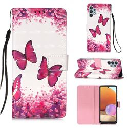 Rose Butterfly 3D Painted Leather Wallet Case for Samsung Galaxy A32 4G