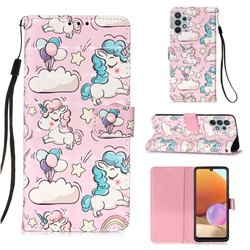 Angel Pony 3D Painted Leather Wallet Case for Samsung Galaxy A32 4G