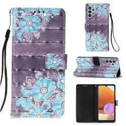 Blue Flower 3D Painted Leather Wallet Case for Samsung Galaxy A32 4G