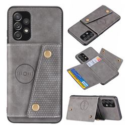 Retro Multifunction Card Slots Stand Leather Coated Phone Back Cover for Samsung Galaxy A32 4G - Gray