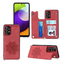 Luxury Mandala Multi-function Magnetic Card Slots Stand Leather Back Cover for Samsung Galaxy A32 4G - Red