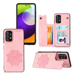 Luxury Mandala Multi-function Magnetic Card Slots Stand Leather Back Cover for Samsung Galaxy A32 4G - Rose Gold