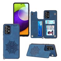 Luxury Mandala Multi-function Magnetic Card Slots Stand Leather Back Cover for Samsung Galaxy A32 4G - Blue