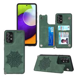 Luxury Mandala Multi-function Magnetic Card Slots Stand Leather Back Cover for Samsung Galaxy A32 4G - Green