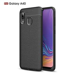 Luxury Auto Focus Litchi Texture Silicone TPU Back Cover for Samsung Galaxy A40 - Black