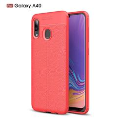 Luxury Auto Focus Litchi Texture Silicone TPU Back Cover for Samsung Galaxy A40 - Red