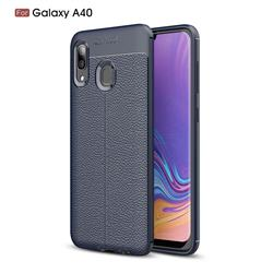 Luxury Auto Focus Litchi Texture Silicone TPU Back Cover for Samsung Galaxy A40 - Dark Blue