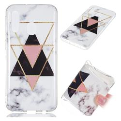 Inverted Triangle Black Soft TPU Marble Pattern Phone Case for Samsung Galaxy A40