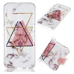 Inverted Triangle Powder Soft TPU Marble Pattern Phone Case for Samsung Galaxy A40