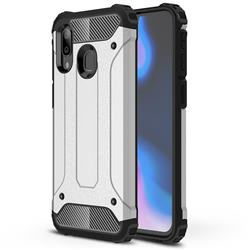 King Kong Armor Premium Shockproof Dual Layer Rugged Hard Cover for Samsung Galaxy A40 - White
