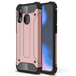 King Kong Armor Premium Shockproof Dual Layer Rugged Hard Cover for Samsung Galaxy A40 - Rose Gold