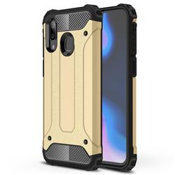 King Kong Armor Premium Shockproof Dual Layer Rugged Hard Cover for Samsung Galaxy A40 - Champagne Gold
