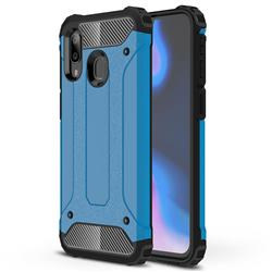 King Kong Armor Premium Shockproof Dual Layer Rugged Hard Cover for Samsung Galaxy A40 - Sky Blue