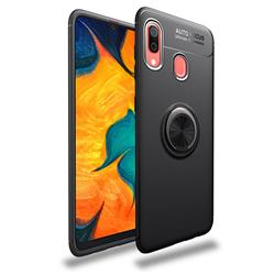 Auto Focus Invisible Ring Holder Soft Phone Case for Samsung Galaxy A40 - Black
