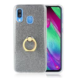 Luxury Soft TPU Glitter Back Ring Cover with 360 Rotate Finger Holder Buckle for Samsung Galaxy A40 - Black