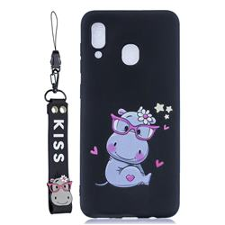 Black Flower Hippo Soft Kiss Candy Hand Strap Silicone Case for Samsung Galaxy A40