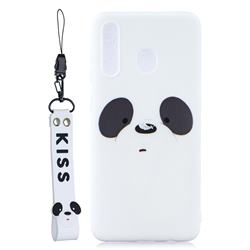 White Feather Panda Soft Kiss Candy Hand Strap Silicone Case for Samsung Galaxy A40