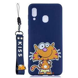 Blue Cute Cat Soft Kiss Candy Hand Strap Silicone Case for Samsung Galaxy A40
