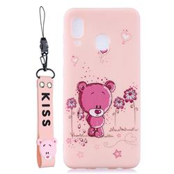 Pink Flower Bear Soft Kiss Candy Hand Strap Silicone Case for Samsung Galaxy A40