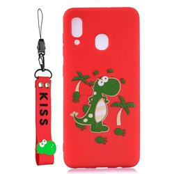Red Dinosaur Soft Kiss Candy Hand Strap Silicone Case for Samsung Galaxy A40