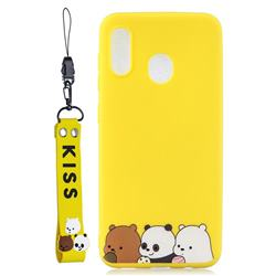 Yellow Bear Family Soft Kiss Candy Hand Strap Silicone Case for Samsung Galaxy A40