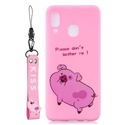 Pink Cute Pig Soft Kiss Candy Hand Strap Silicone Case for Samsung Galaxy A40
